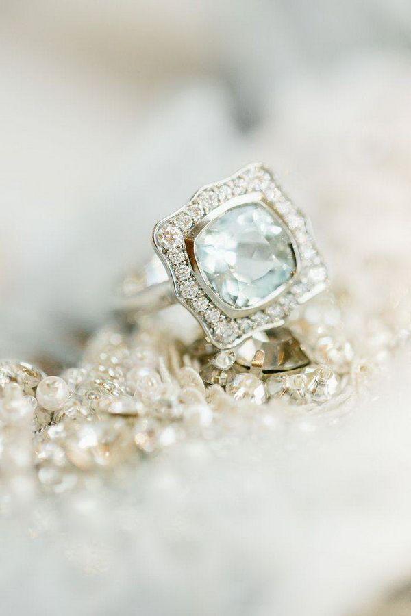 Vintage Aquamarine Engagement Ring with a Diamond Halo | Simply by Tamara Nicole | http://heyweddinglady.com/mixed-metallic-muted-elegance-wedding-greyed-jade-gold/