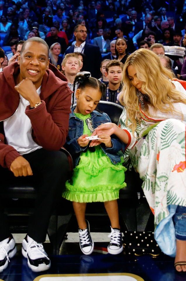 Beyoncé, Jay Z, and Blue Ivy attend the 2017 NBA All-Star ...