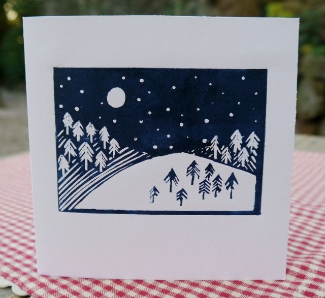 Lino Print Christmas Card - Snow scene £2.00