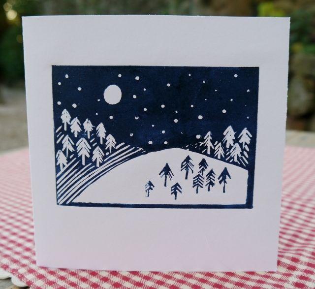 Lino Print Christmas Card - Snow scene £2.00