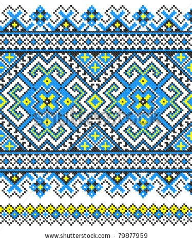 stock vector : embroidered good like handmade cross-stitch ethnic Ukraine pattern