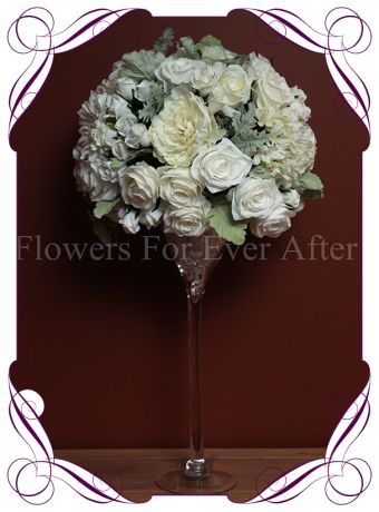 White/ Ivory classic silk bridal flower centerpiece for hire to Melbourne and surrounds