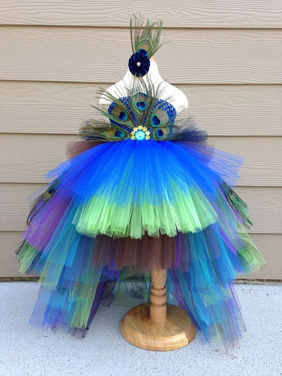 Peacock Tutu Costume Pageant Party Portrait Dress por BlissyCouture