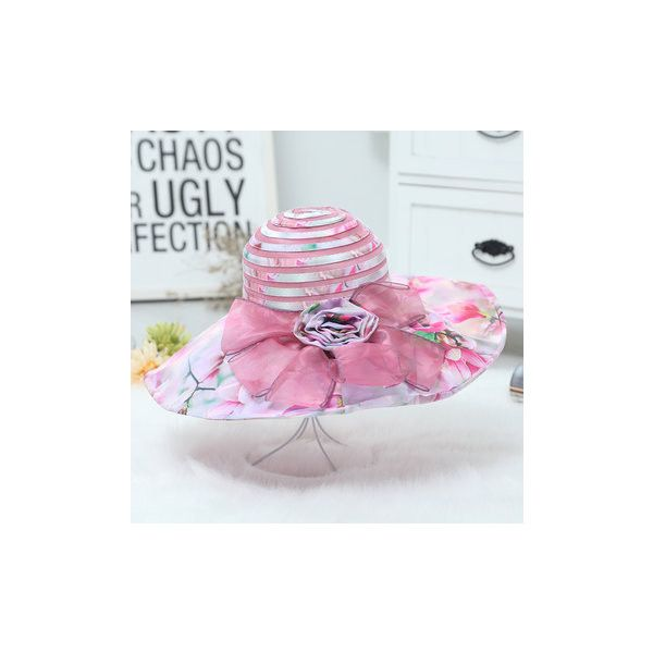 Breathable Foldable Printing Floral Anti-UV Beach Sun Hat Casual Large... ($10) ❤ liked on Polyvore featuring accessories, hats, light purple, floral bucket hat, bucket hats, fishing hats, foldable sun hat and beach hat