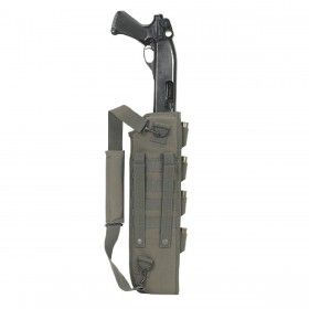 Voodoo Tactical: Shotgun Scabbard With Attached Machete Sheath - This scabbard is ambidextrous and has MOLLE attachment straps on both sides, allowing you the choice of mounting it on your right or left. The 29-inch long scabbard is designed to hold the Remington 870 with an 18 inch barrel and will also fit similar sized Benelli, Mossberg and Winchester shotguns. When properly fitted, the trigger should not be exposed.