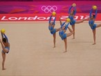The Great Britain team competes in the Group All-Around Rhythmic Gymnastics