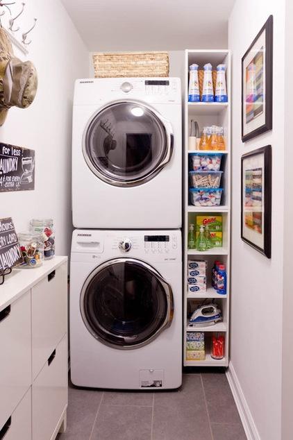 Small space well organized Espacio de lavandería en casa,
