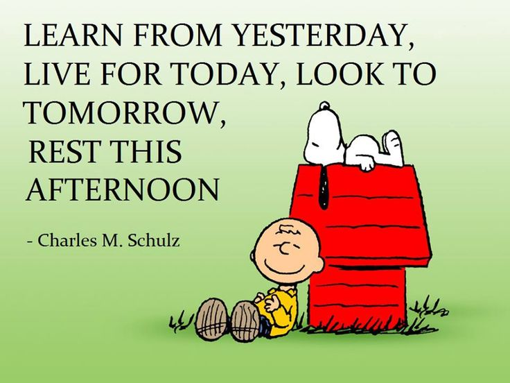 Learn from yesterday, live for today, look to tomorrow, rest this afternoon. Snoopy quote