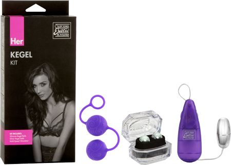 Her Kegel and PC muscle exercise kit.