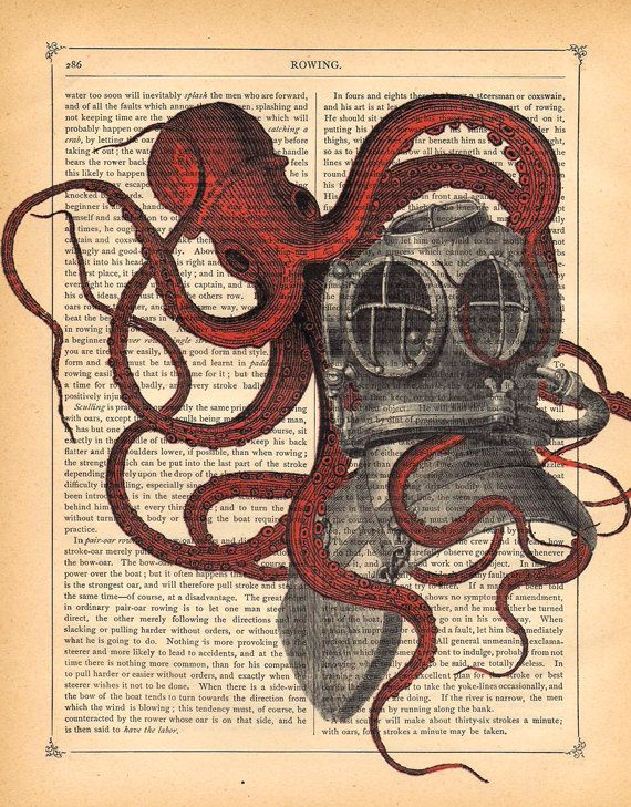 Vintage Giant Octopus Drawing RED OCTOPUS diver helm...