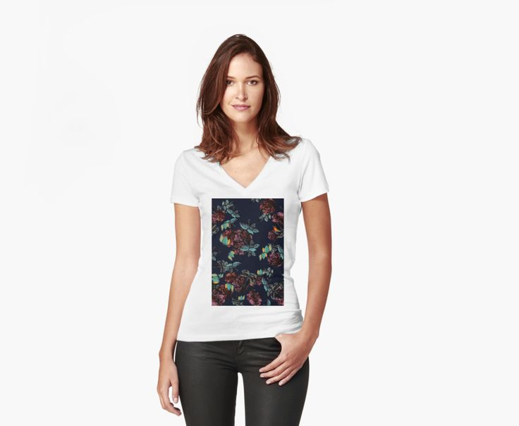 Women's Fitted V-Neck T-Shirts Roses Garden by talipmemis