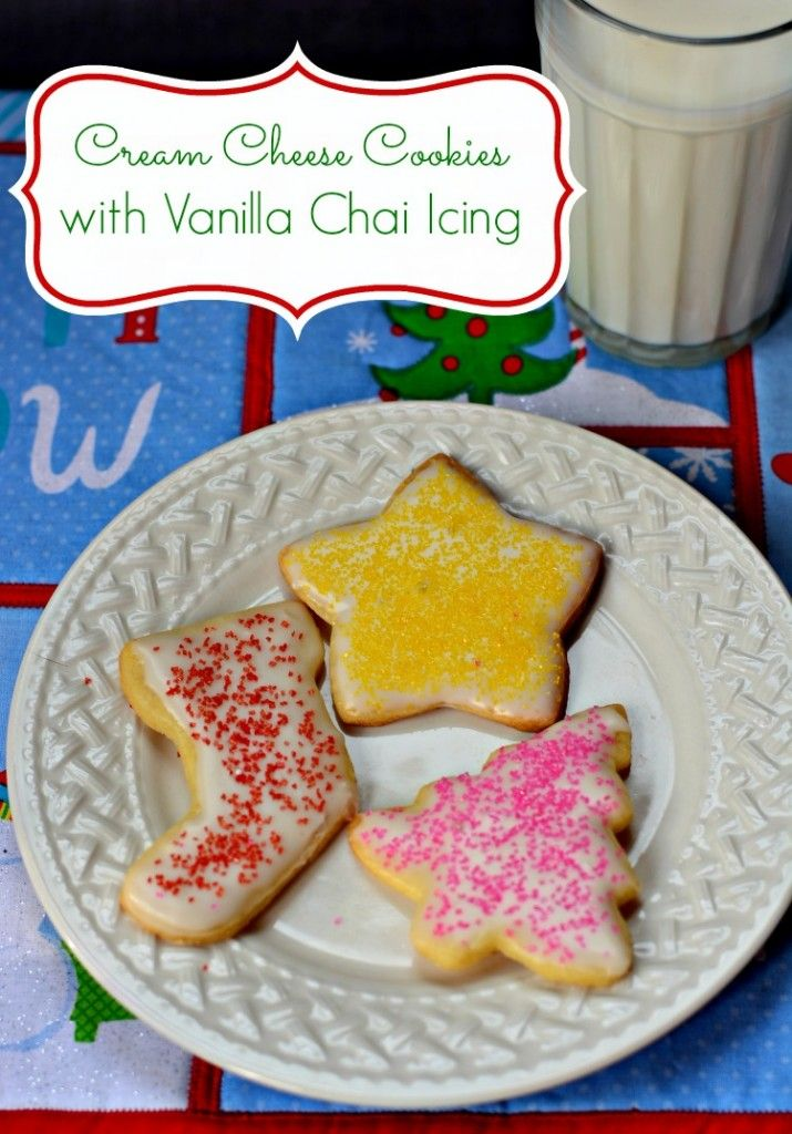 Love cut out cookies but tired of the same sugar cookie? Try this delicious cream cheese sugar cookie recipe topped with a vanilla Chai tea icing!