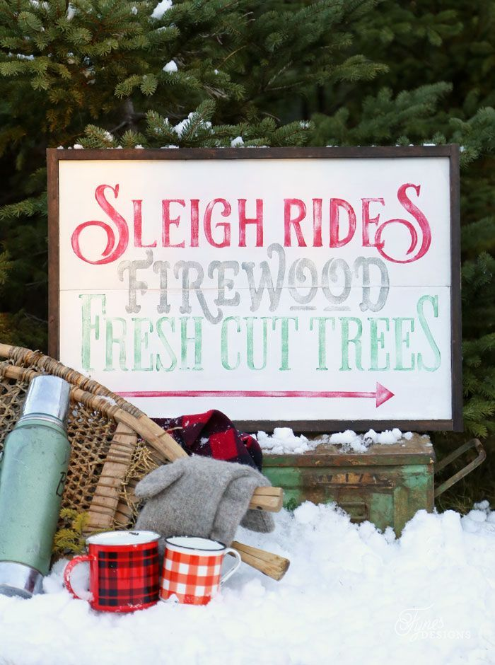 Christmas painted sign trio. Sleigh Rides this way, Reindeer names, and Fresh trees Christmas Silhouette Cut Files