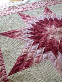 Sewing & Quilt Gallery: Client Valentine's Day Lone Star. Meandering/ivy like heart filler around the feathering-Gorgeous!