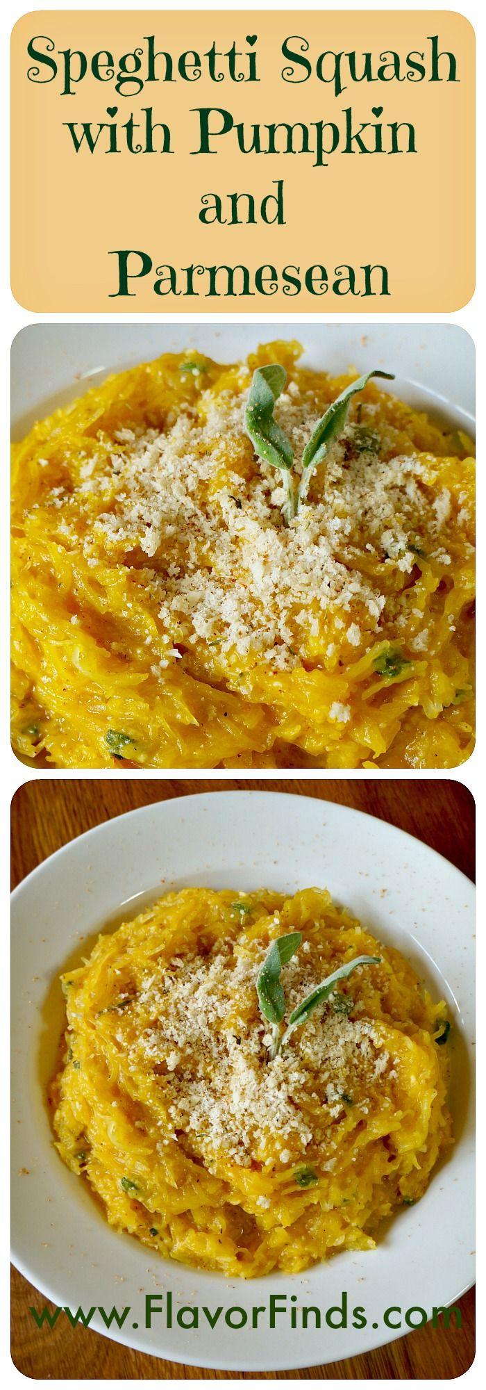 Spaghetti Squash with Pumpkin and Parmesan fall recipes, healthy recipes, diet…