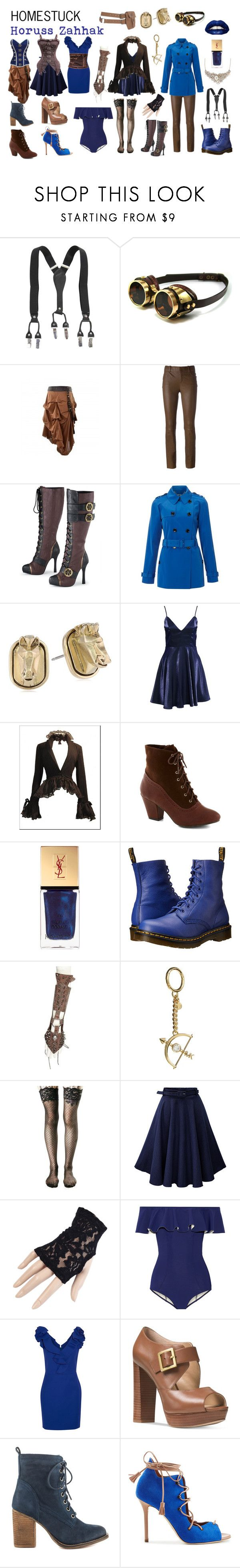 """Homestuck Fashion: Horuss Zahhak"" by khainsaw ❤ liked on Polyvore featuring STOULS, Episode, Sam Edelman, But Another Innocent Tale, Yves Saint Laurent, Bertha, Dr. Martens, MICHAEL Michael Kors, Leg Avenue and Black"