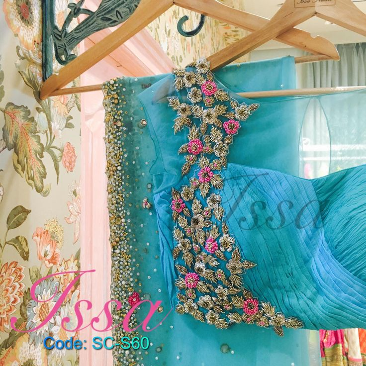SC-S60 :Powder blue and sea green shaded net saree with patterned blouse and intricate hand embroidery.We can customize the colour   size as per your requirement. To order please call/ WhatsApp on 9949944178 or mail us @issadesignerstudio@gmail.com 30 September 2016.