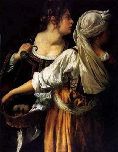 """Judith and her Maidservant (1611or1613-14, by the woman, Artemisia Gentileschi, (1593-1652?) is daughter to Orazio Gentileschi, the court painter to King Charles I of England."