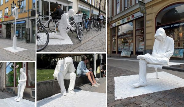 An outdoor art exhibition in the city like in Sweden