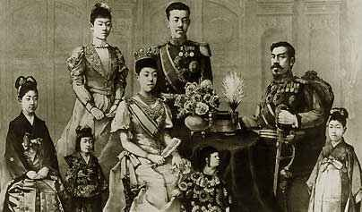 Emperor Meiji (1852-1912), the Empress, and the Imperial family