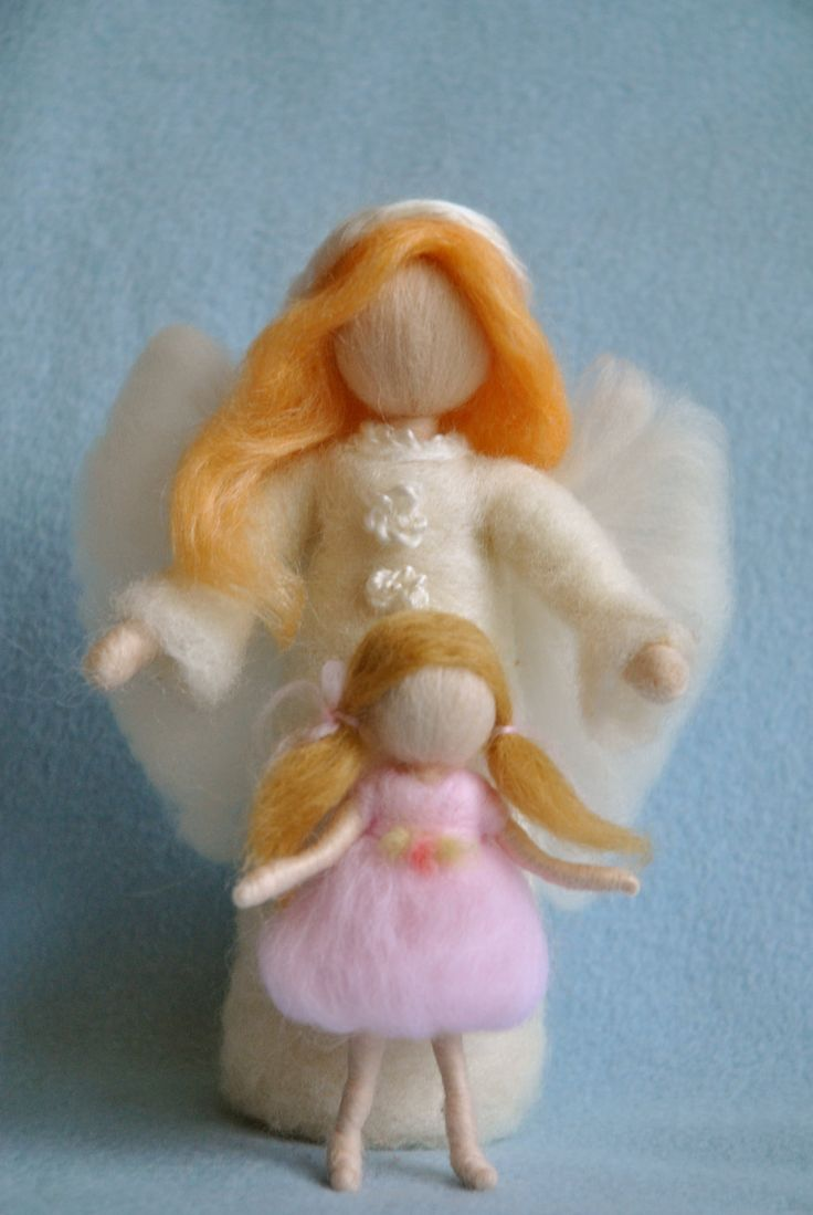 Waldorf inspired needle felted dolls :Guardian Angel with Baby,Girl or Boy ( made to order). $64.00, via Etsy.