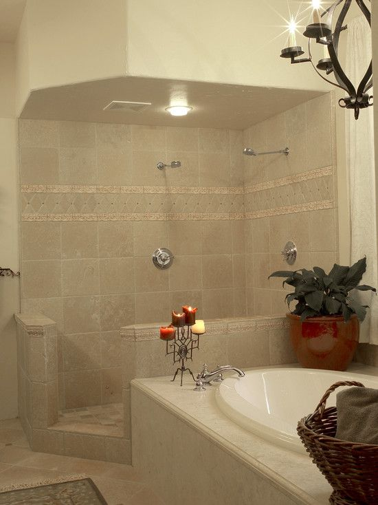 Pin by kitty on feathering the nest pinterest - Open shower bathroom design ideas ...
