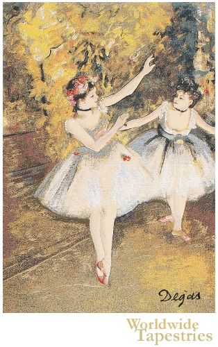 Love French ballet art? Here we see two ballerinas are seen dancing here in 'Two Dancers On Stage' by Edgar Degas (1834-1917). One of the founders of impressionism, Degas was an artist whose style reflects that of impressionism of Monet and van Gogh.