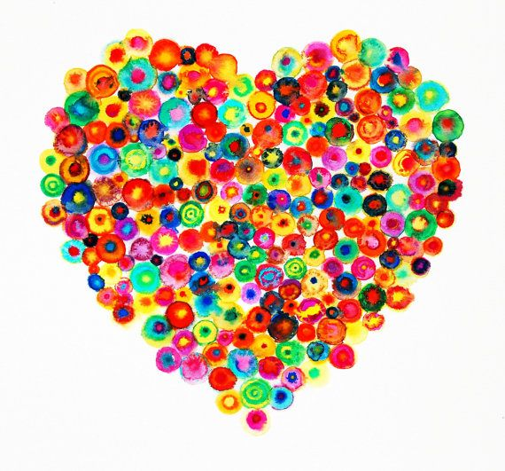 Heart Large Abstract Canvas Print - Colorful - 'Sweet Heart' - Ltd Edition 195