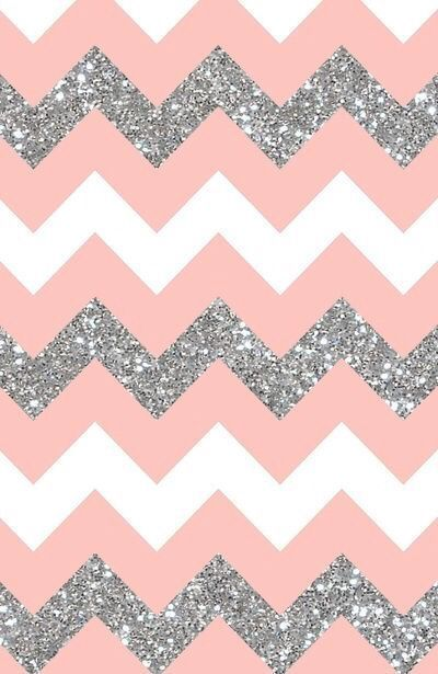 Coral peach white silver chevron iphone wallpaper phone background lock screen