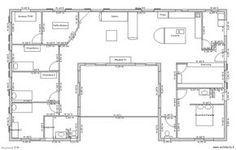 Super plan de maison en U pour famille avec enfants - 3 chambres et suite parentale