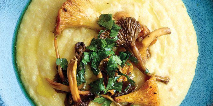 Romige polenta met gebakken bospaddenstoelen