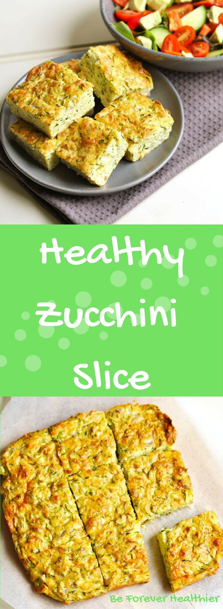Healthy Zucchini Slice - Only 7 ingredients and 10 minutes to prep! Perfect for breakfast, lunch, dinner or a snack! YEP, that's right - this slice is perfect for ANY meal! #zucchinislice #vegetarian #mealprep