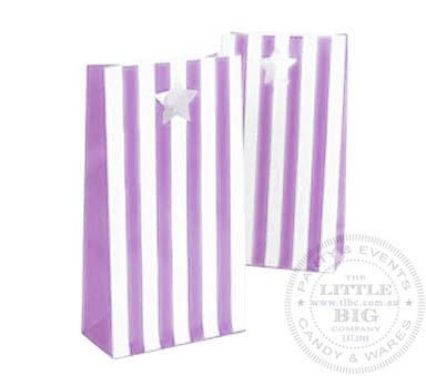 Paper Party Bags - Lilac Striped Series (6Pk) | Favor Bags and Boxes | Party Collection | The Little Big Company Pty Ltdparty, glass bottles, swizzle sticks, beverage dispenser, birthday, gift, rock candy