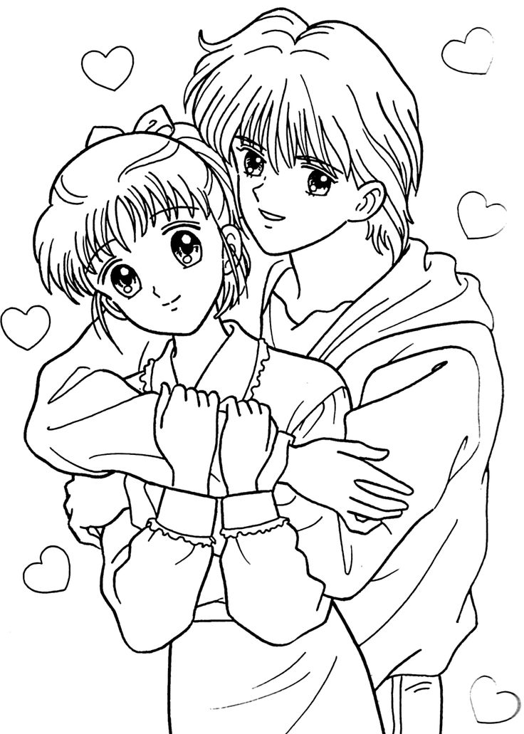 Miki and Yuu from Marmalade boy coloring pages for kids