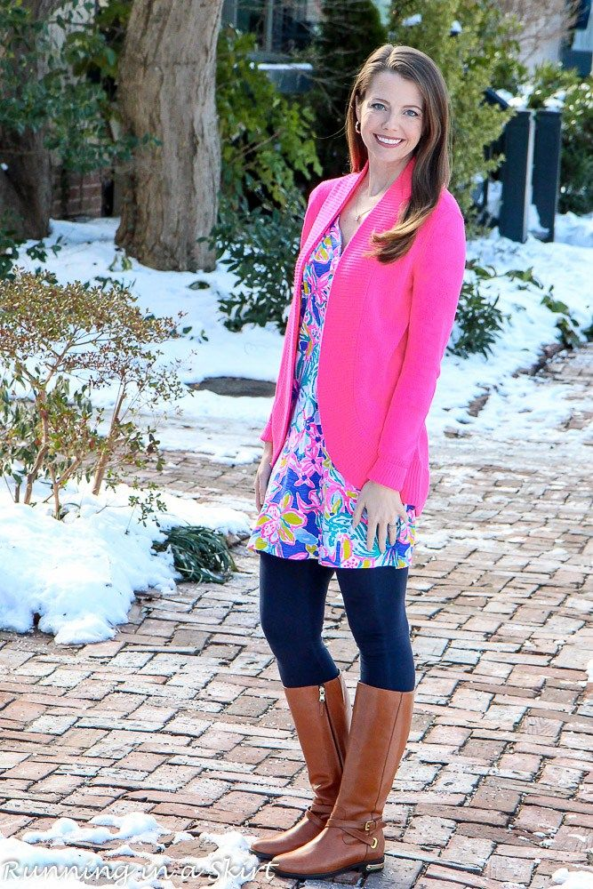 Lilly Pulitzer Amberly Swing Dress, Amalie Cardigan styled for winter! Tips to pull of Lilly Pulitzer in winter and everyday fashion ideas from Running in a Skirt!