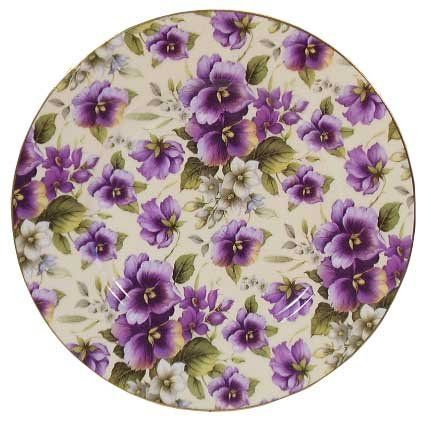 """English Bone China 8"""" Plate-pansy Chintz Decor by British American Chinaware. $9.95. Overall Pansy Chintz decor. Individually boxed. Bone China Plate. Diameter 8"""". Made in England. English Bone China plate 8"""" in diameter with overall Pansy Chintz decor. Made in England this plate has gold trim around the edge. Plates are sold singly and are individually boxed. We would recommend hand washing only.  Owing to Gold decoration this product cannot be used in a microwave."""