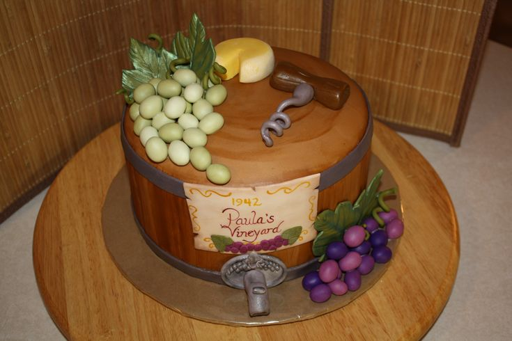I can do this with all red grapes to highlight red wine themed cake. Covered in fondant, would be $60.