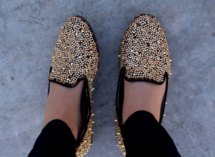 leopard print shoes. rhinestone covered shoes. Loafers with studs.