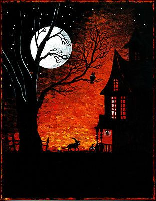 Halloween Print of Painting RYTA Witch Black Cat