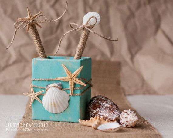 Beach wedding Guest Book Pen and pen holder  от RusticBeachChic, $13.50