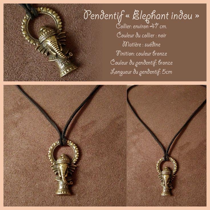 """Collier """"Elephant """" couleur bronze , collier d'environ 45 cm de long . : Pendentif par fabienne-botte"""