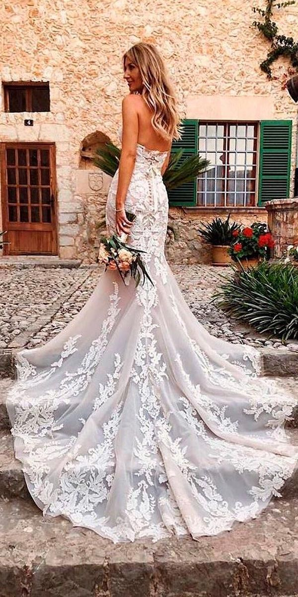 Mermaid Lace Open Back Strapless Neckline With Train Beach Wedding Dresses Ellebelleattire Tight Wedding Dress Wedding Dresses Wedding Dresses Lace