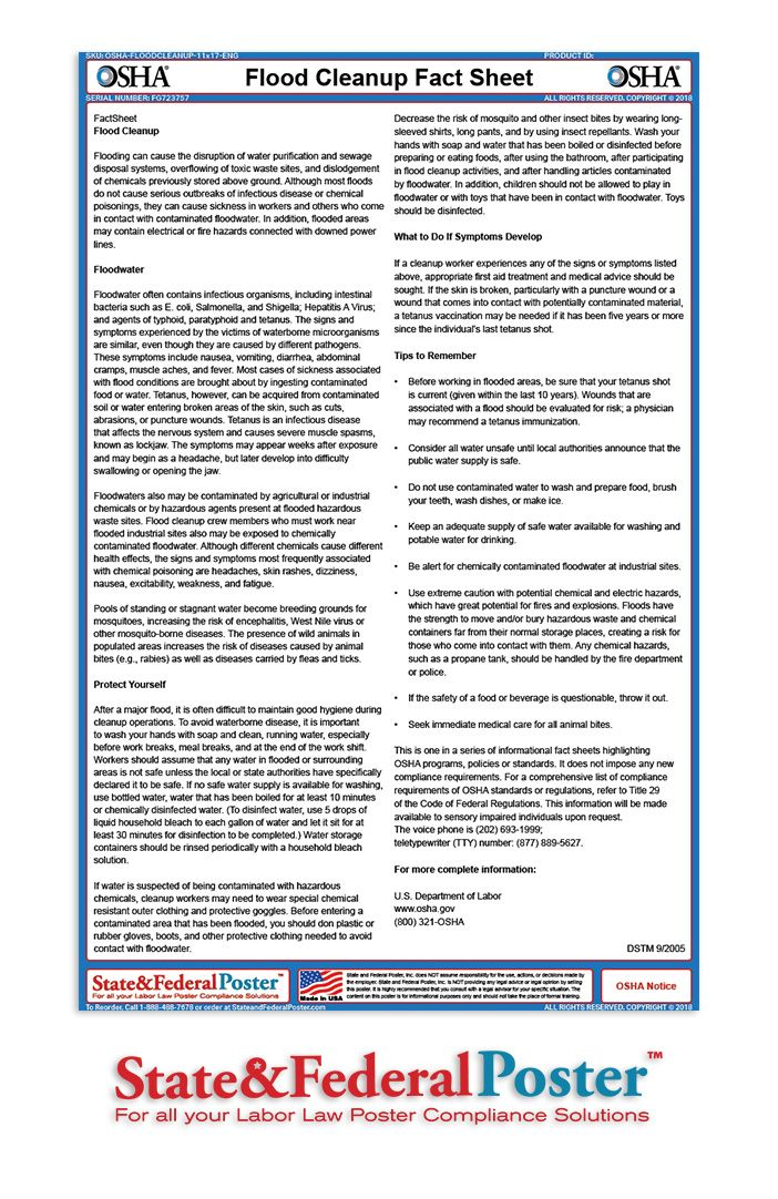 OSHA Flood Cleanup Factsheet! This fact sheet informs