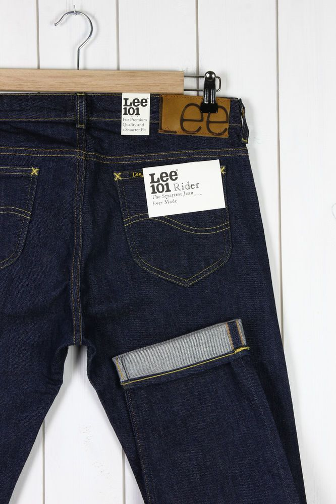 NEU LEE 101 RIDER 12OZ JEANS SELVEDGE DENIM SLIM TAPERED L32/L34/L36 -Alle Große