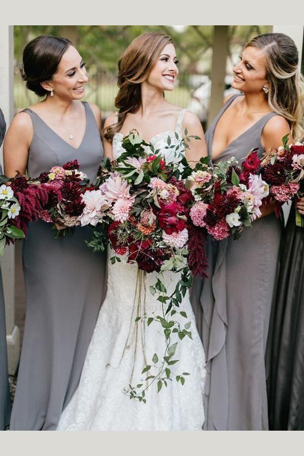 V-neck Bridesmaid Dresses, V Neck Bridesmaid Dresses, Chiffon Bridesmaid Dresses…