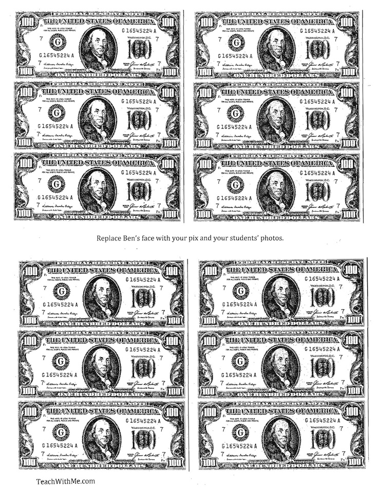 It's just a photo of Playful Free Printable 100 Dollar Bill