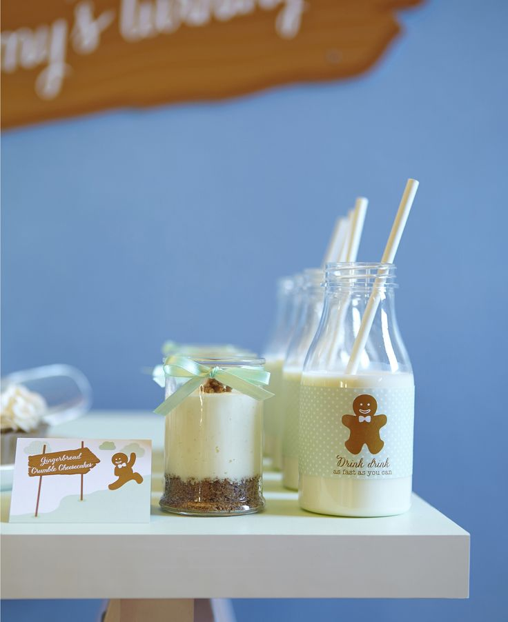 """LETTUCE & CO - STYLE. EAT. PLAY run, run, as fast as you can gingerbread man themed children's birthday party. mint green, sky blue, brown and orange colour scheme. concept design and styling by us. custom themed stationery, cheesecake pots and """"drink drink as fast as you can"""" milk bottles"""