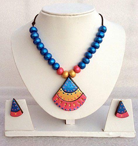 Anikalan Designs Pink duedrops Pendant Terracotta Necklace Set, http://www.junglee.com/dp/B00X7RMJUW/ref=cm_sw_cl_pt_dp_B00X7RMJUW