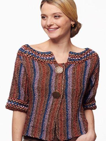 Metallic - Funky Stripes Cardigan (crochet) | Yarn | Knitting Patterns | Crochet Patterns | Yarnspirations
