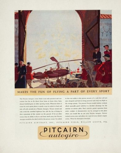 Makes the fun of flying a part of every sport. (Pitcairn Autogiro.)  355 x 390 mm.  Original chromolithograph from 'Fortune' magazine, USA, 1930s.